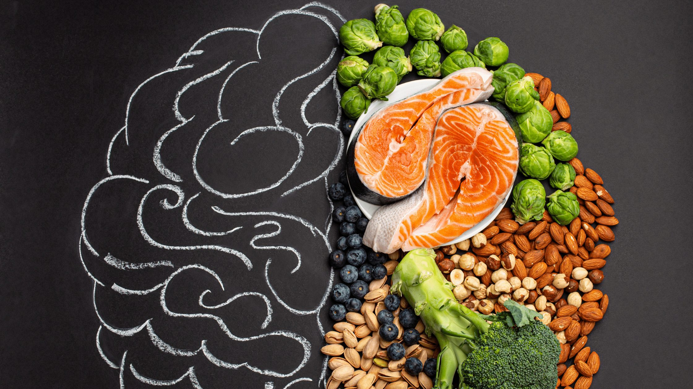 Brain design with chalk and healthy foods
