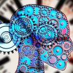 gears in formation of a human head within a clock to represent circadian rhythm